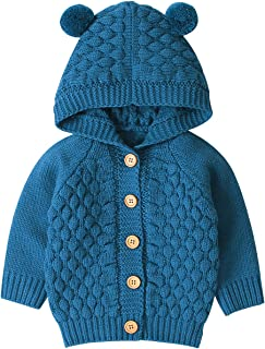 Toddler Baby Boys Girls Knitting Hooded Sweater Knit Cardigan Jacket Hoodie