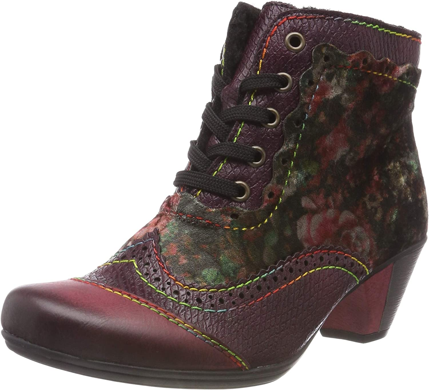 Rieker Women's Red Combination Multi Mid Heel Lace Up Ankle Boot