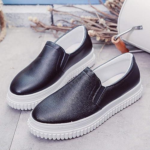 Fuxitoggo zapatos de Color Puro rojoondo con zapatos Casuales plataforma Impermeable PU Plano bajo con zapatos de mujer (Color   negro, tamaño   38)