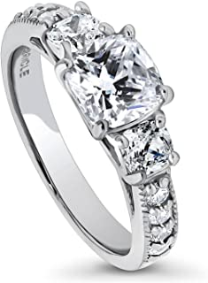 Rhodium Plated Sterling Silver Cushion Cut Cubic Zirconia CZ 3-Stone Anniversary Promise Engagement Ring 2.34 CTW