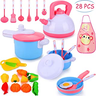 Auney Kids Kitchen Pretend Play Accessories Toys, Cooking Set, Pots and Pans, Cookware Playset, Healthy Cutting Vegetables, Knife, Utensils, Learning Gift for 2, 3, 4 Years Old Girls, Boys, Toddlers