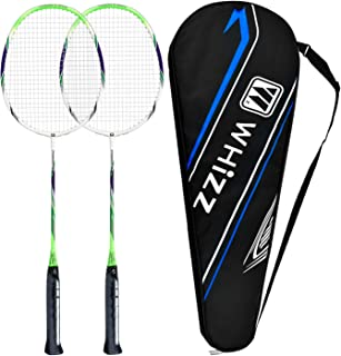 QICHUAN Whizz - 2 Player Carbon Fiber Shaft Badminton Racket Set for Adults, Family Backyard Game, Carrying Bag Included