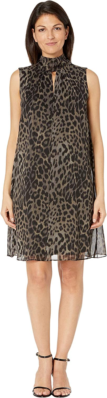 London Times Women's Leopard Print Sleeveless A-line Tie Neck Dress