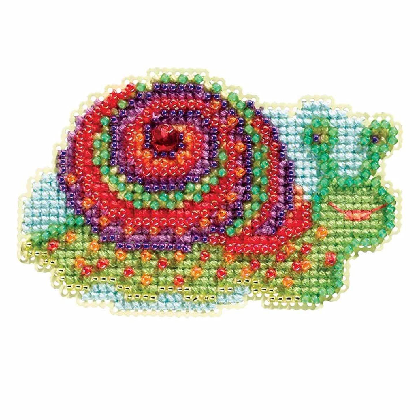 Snail Beaded Counted Cross Stitch Ornament Kit Mill Hill 2017 Spring Bouquet MH181714