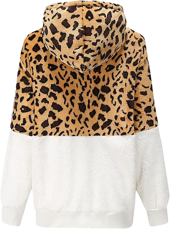 Women Leopard Color Block Pullover Hoodie Sweatshirt Thicken Warm Jacket Loose Outwear Casual