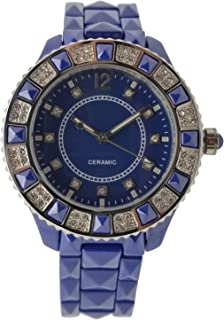 Women's Genuine Ceramic Analog Dress Bracelet Watch with Crystal Bezel by Adrienne