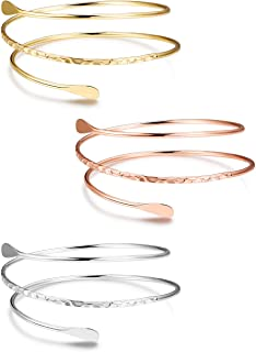 "Finrezio 3 PCS Minimalist Simple Coil Upper Arm Band Cuff Armlets for Women Girls Arm Bangle Dia.3.15"", Adjustable"