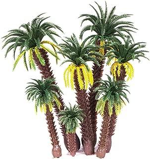 Ymeibe 8 PCS Model Palm Trees Mini Layout Rainforest Plastic Coconut Palm Tree Diorama Miniature Landscape Trees (MR170)