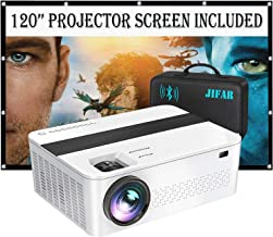 "$259 » Bluetooth Native 1080p Projector with 120"" Projector Screen & Bag,9000 Lux 4k Projector for Outdoor Movies with 450"" Displ..."