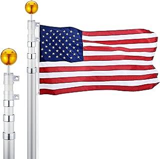 CO-Z 20 Feet Aluminum Telescoping Flag Poles with 3-Feet-by-5-Feet American Flag, Golden Ball Finial, PVC Sleeve and Hooks & Screws