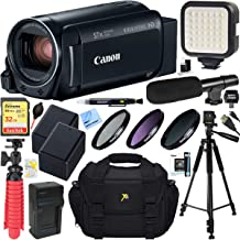 Canon VIXIA HF R800 Camcorder with 57x Advanced Zoom (Black) + 32GB SD Card & Deluxe Microphone Accessory Bundle