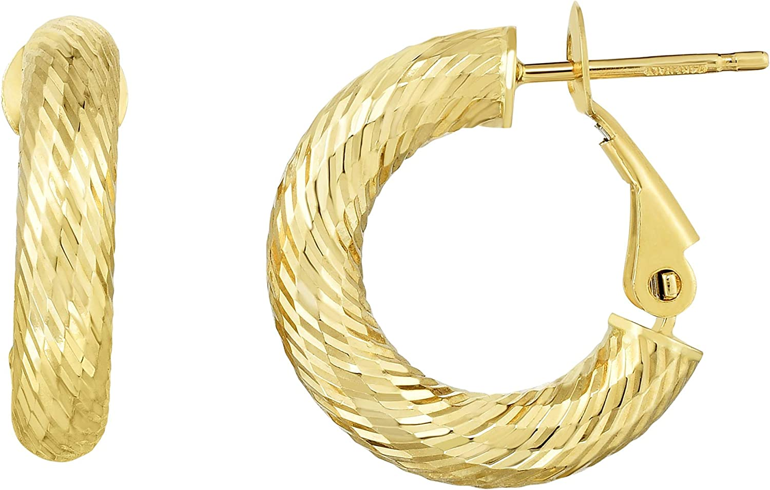 14kt Gold Yellow Finish 4x18x17.5mm Diamond Cut Hoop Earring with Snap Clasp