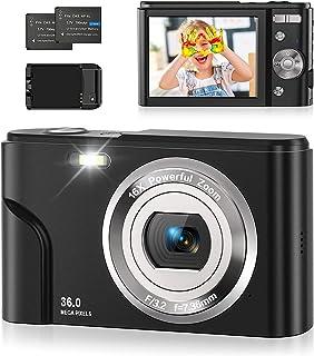 Rosdeca Digitalkamera, 1080P HD Fotokamera 36MP 2,4 '' LCD Kompaktkamera Wiederaufladbare Kamera Digital mit 16X Digitalzoom-Kamera für Studenten/Erwachsene/Kinder/Anfänger (Schwarz)