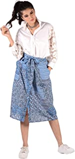 PANCHHI Women's Crepe Blue Printed Knee Length A-Line Skirt (PF-Indigo-1;Blue)