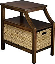 Handmade End Table for Living Room,and Bedroom,Side Table with Storage,Hand Painting Antique Walnut Wood,RANDEFURN