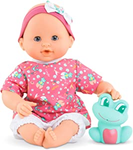"""Corolle Bebe Bath Oceane - 12"""" Girl Baby Doll with Rubber Frog Toy, Safe for Water Play in The Bathtub or Pool, Poseable Soft Body with Vanilla Scent, for Kids Ages 18 Months and Up, Pink"""