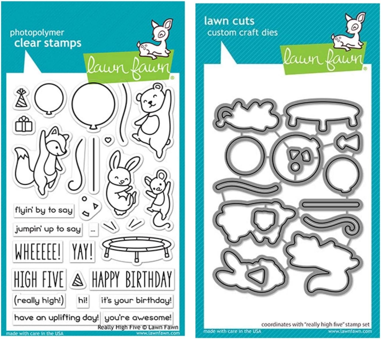 """Lawn Fawn Really High Five 4""""x6"""" Clear Stamp Set and Coordinating Custom Craft Die Set (LF2215, LF2216), Bundle of 2 Items"""