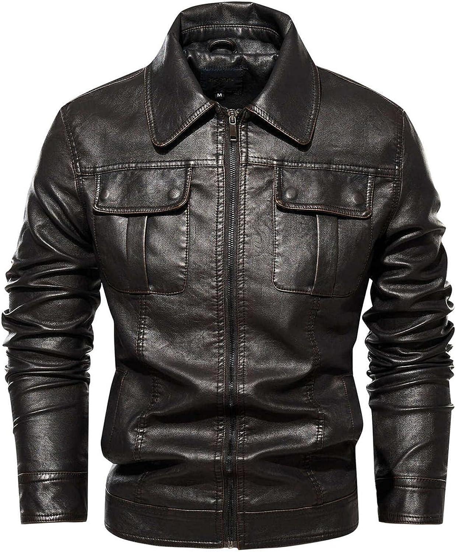 Mens Vintage Leather Jackets Full Zipper Long Sleeve Turn-Down Collar Coat Top Fashion Biker Motorcycle Bomber Overcoat