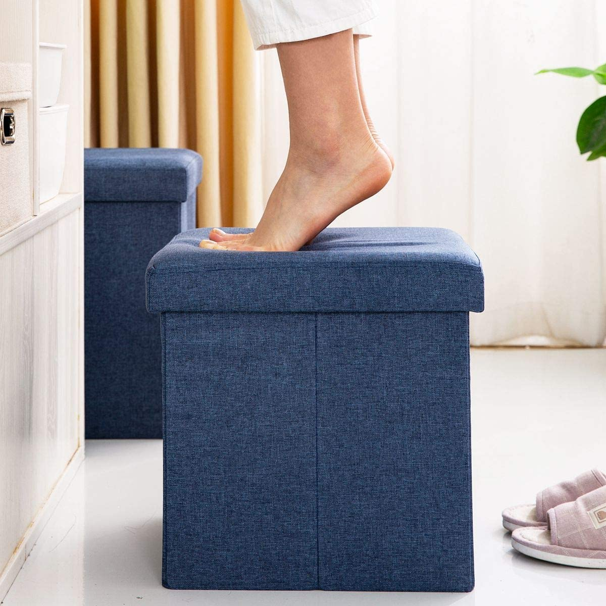 FHSQX Folding Storage Ottoman Cube Versatile Cube Footrest Stool Seat for Bedroom Living Room Linen Storage Seat with Memory Foam 13.7x13.7x13.7Inch
