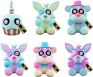 Funko FNAF Spring Pastel Colorway Plush Set of 5 - Cupcake, Foxy, Freddy Blue and Freddy Pink, Foxy Blue and Foxy Purple