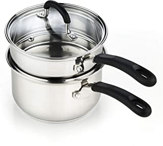 Cook N Home 02655 2 Quarts Double Boiler, Silver