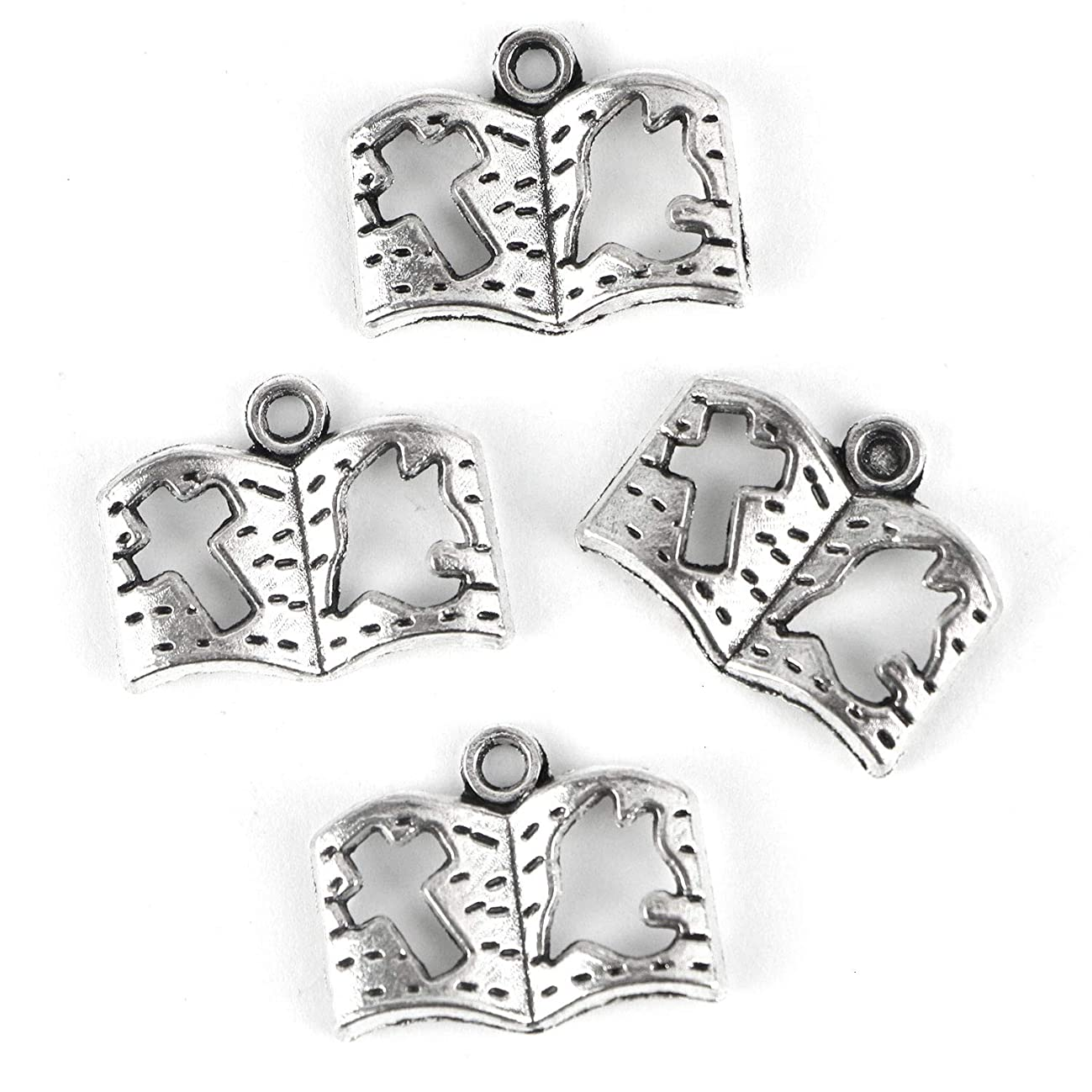 Monrocco 100 Pcs Antique Silver Holy Bible Book Charms Religious Christian Cross Dove Bible Charms for Bracelets Necklace Jewelry Making
