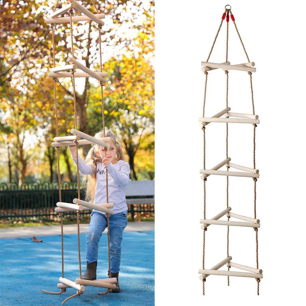 ROCK1ON 5 Pasos Escalera de Cuerda de Escalada para Interiores y Exteriores 98 Pulgadas de Longitud Niños de Madera Columpio Deportes Ideal para Escalada árbol Casa de Juegos 120kg: Amazon.es: Deportes y