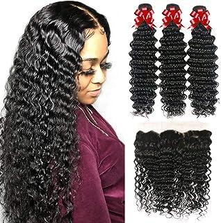 Brazilian Hair Deep Wave 3 Bundles with Frontal Virgin Hair Ear to Ear Frontal with Bundles 100% Unprocessed Human Hair Deep Curly Bundles Natural Color (14 16 18+12)