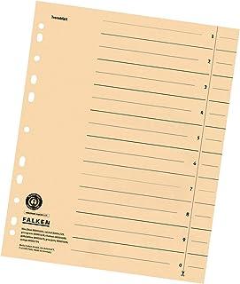 Przekładki kartonowe Falken 50 szt. kremowe A4 z indeksem. Wyprodukowano w Niemczech. Przekładki do segregatorów, przekład...
