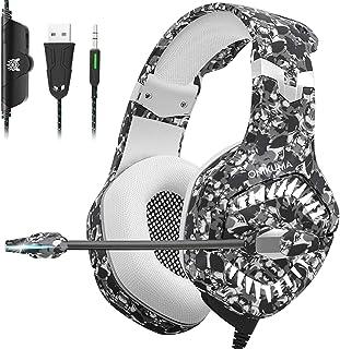 Auriculares para juegos para PS4, Auriculares Xbox One con cancelación de ruido de micrófono, Sonido envolvente estéreo 7.1, Luz LED, Orejeras con memoria suave, Auriculares para juegos para colocar sobre las orejas para PS4 Xbox One PC Latop Mac K1 Pro Camuflaje