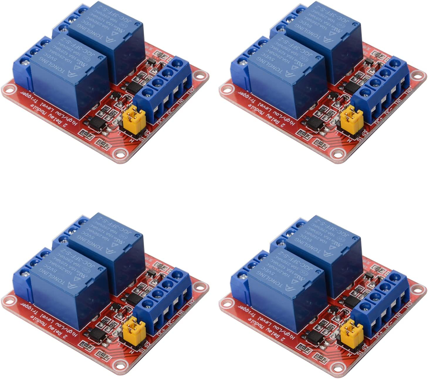 R REIFENG 4pcs 2 Channel 5V Relay Module Board Shield with Optocoupler Isolation Support High/Low Level Trigger