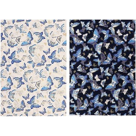 Wakauto 2Pcs Tissu de Coton Imprimé Papillon pour Patchwork Bricolage Couture Quilting 50X70cm (Bleu Blanc)