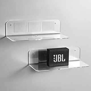OAPRIRE Floating Shelves Set of 2 with Cable Clips - Easily Expand Wall Space - Acrylic Small Wall Shelf for Bedroom, Bath...