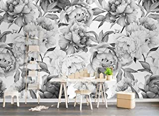 Murwall Dark Floral Wallpaper Charcoal Flower Wall Mural Monochrome Peony Wall Print Classical Home Decor Cafe Design