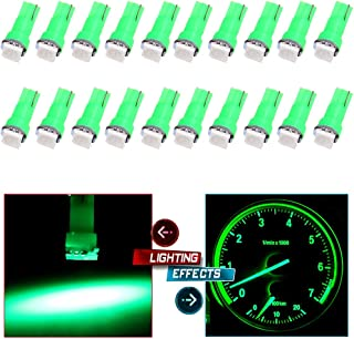 cciyu 20 Pack T5 58 70 73 74 Dashboard Gauge 5050SMD LED Wedge Lamp Bulb Light 6 Colors (20pack green)