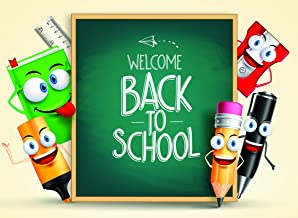 Daniu Back to School Background Cartoon Pencil Themed Photography Backdrops Photo Props for Students Vinyl 7x5ft