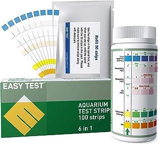 EASYTEST 6 in 1 試験紙,アクアリウム テストストリップ;水質検査キット 水槽、魚タンク/淡水/池用の6つのパラメター水質テストキット;水の総硬度、硝酸塩、亜硝酸塩、Cl2、炭酸塩そして PH 値も正確に測定できる