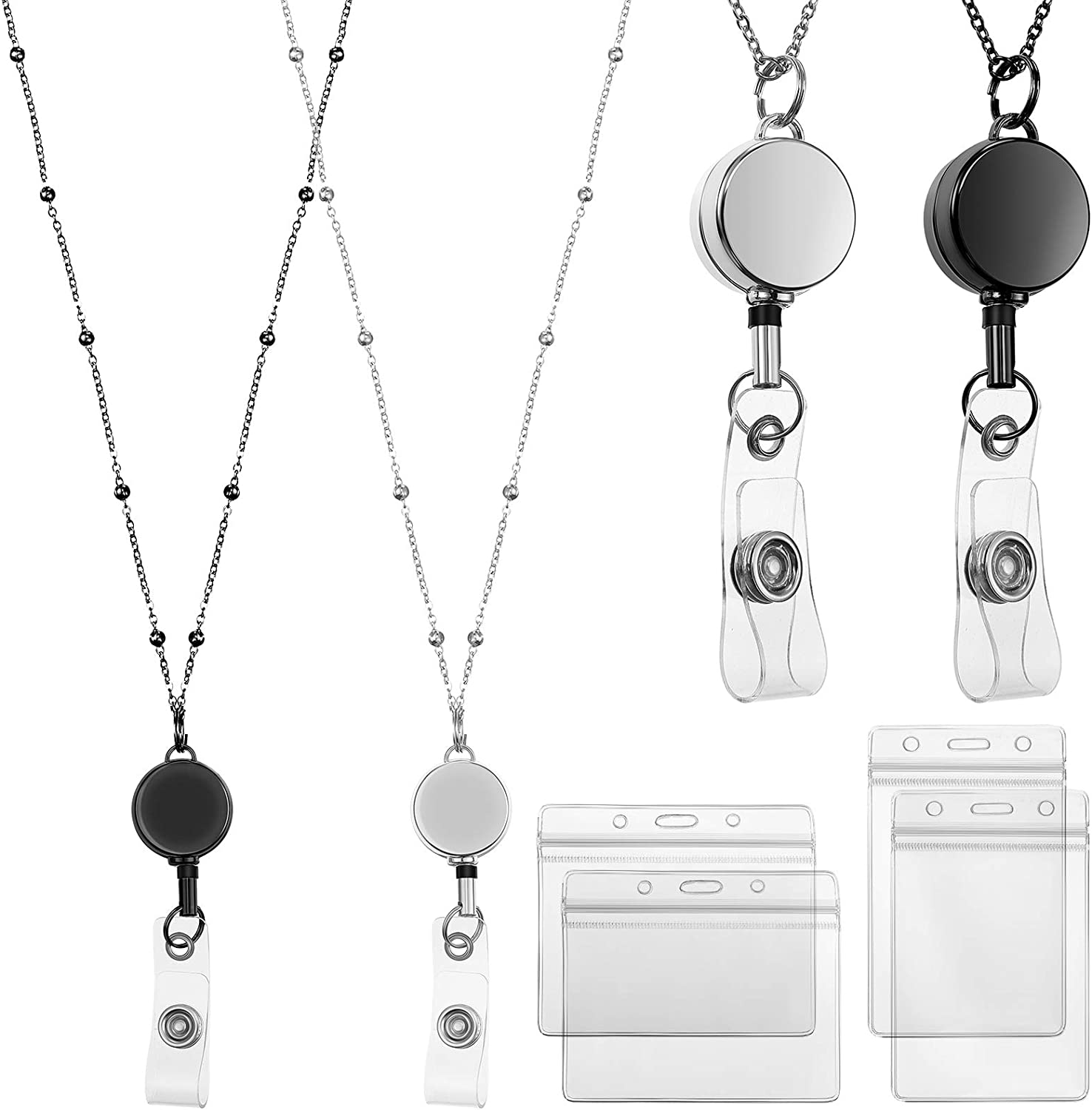 2 Ranking Outlet sale feature TOP12 Pieces Retractable Badge Reel Holders Stainles with Lanyard ID