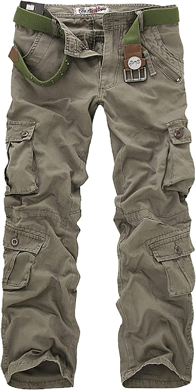 HYPOWELL Men's Casual Cargo Pants Military Pants Work Hiking Outdoor Trousers Pants with Multi-Pocket