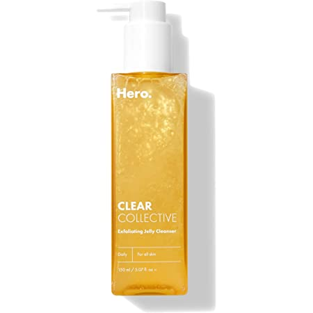 Clear Collective Exfoliating Jelly Cleanser from Hero Cosmetics - Gentle Daily Jelly-to-Foam Facial Cleanser, Eliminates Excess Oil and Removes Dead Skin, Fragrance and Paraben Free (5.07 fl oz)