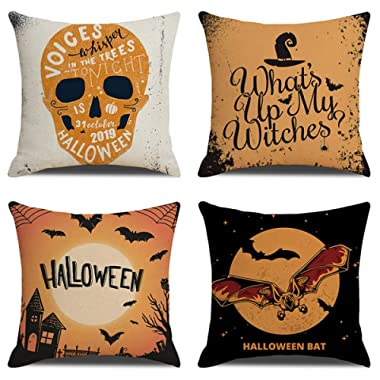 Jasfura Set of 4 Fall Throw Pillow Covers 18x18 Inch Autumn Decorative Couch Pillow Cases Cotton Linen Case Square Cushion Covers for Thanksgiving for Sofa, Couch, Bed and Car (Z-Halloween)