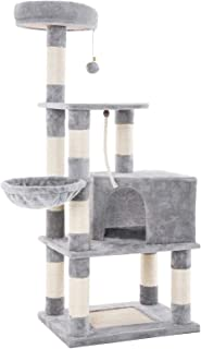 FEANDREA Cat Tree with Scratching Board, Basket Lounger and Large Cave (Renewed)