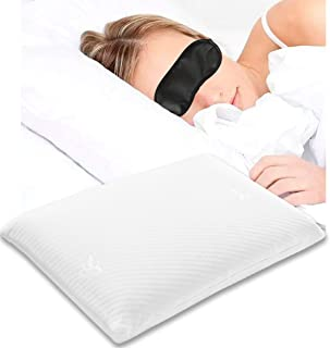 tiktecklab Comfort & Relax Memory Foam Bed Pillow w Eye Mask, Standard Size Pillow for Neck&Shoulder,Support for Back,Side Sleepers, with Free Washable Pillowcase for Queen or Single Bed