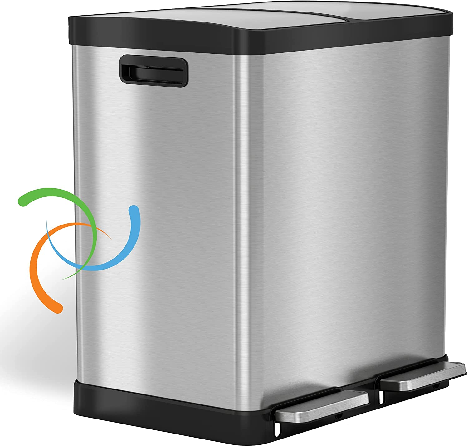 iTouchless 16 Gallon Dual Limited time cheap Overseas parallel import regular item sale Step Recycle Can St Stainless Trash