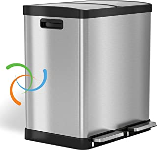iTouchless SoftStep 16 Gallon Step Trash Can / Recycle Bin – 61 Liter Stainless Steel Kitchen Trash Can – 2 8-Gallon Remov...