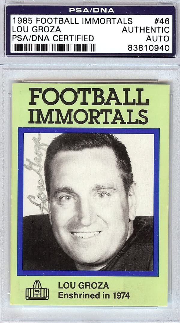 Lou Groza Autographed Virginia Beach Mall 1985 Easy-to-use Football Immortals #46 Card Cleveland