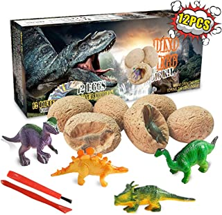 Dinosaur Toys, Dino Egg Dig Kit Kids Gifts - Break Open 12 Unique Dinosaur Eggs and Discover 12 Cute Dinosaurs - Easter Archaeology Science STEM Kids Toys for Age 6+Years Old Boys Girls Gifts