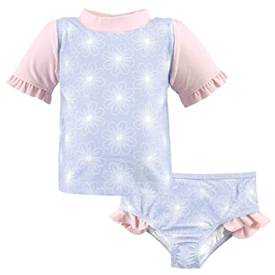 Hudson Baby Hudson Baby Unisex Baby Swim Rashguard Set, Blue Floral, 3 Toddler