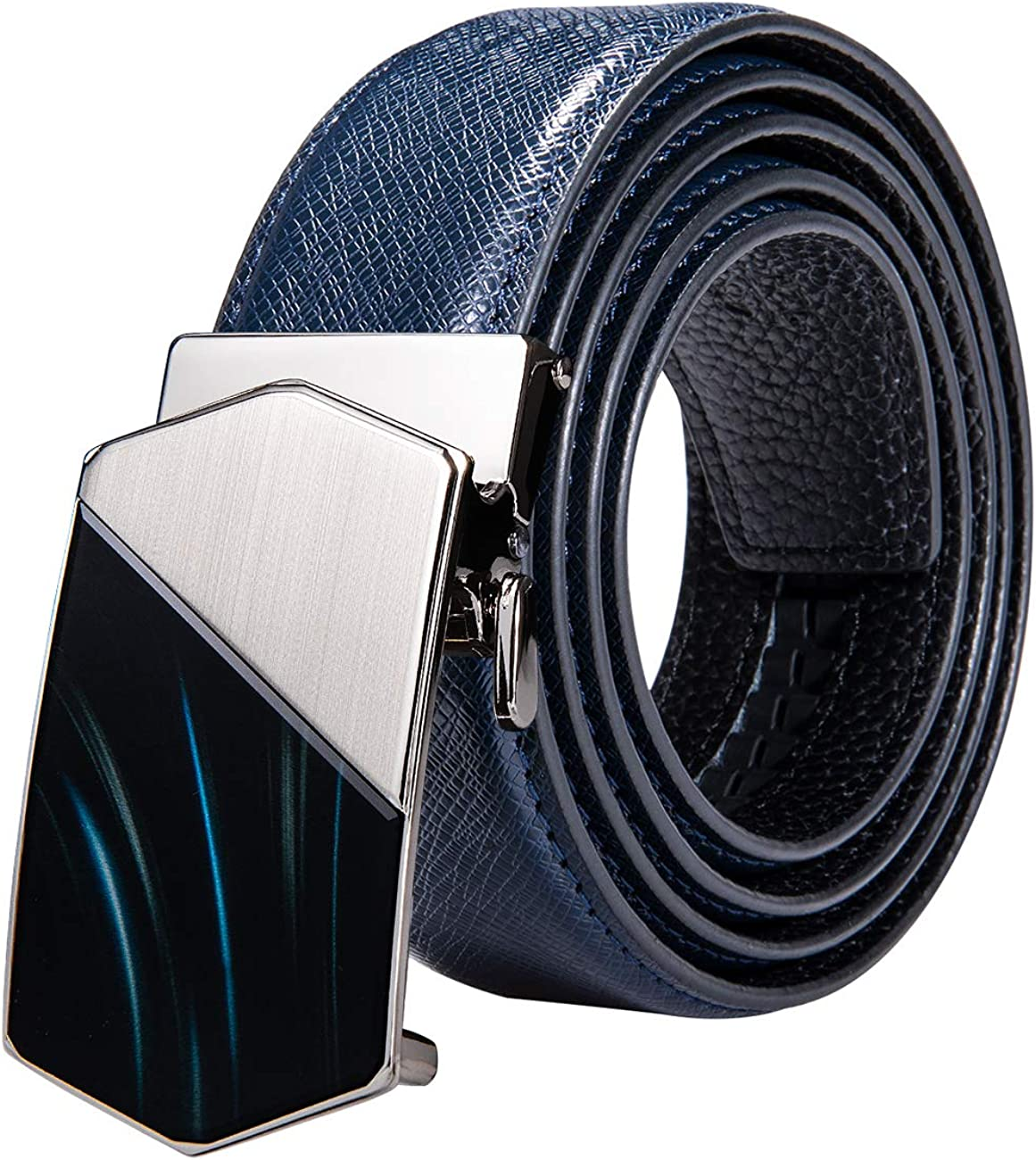 Barry.Wang Mens Ratchet Belt,Genuine Leather Belt with Automatic Buckle Alloy,Gift Set for Men