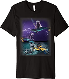 Cats Riding Fire Dolphins Wreaking Sea Havoc Premium T-shirt